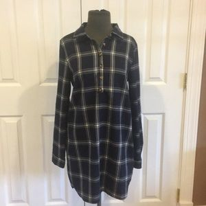 Blue and white plaid button up dress